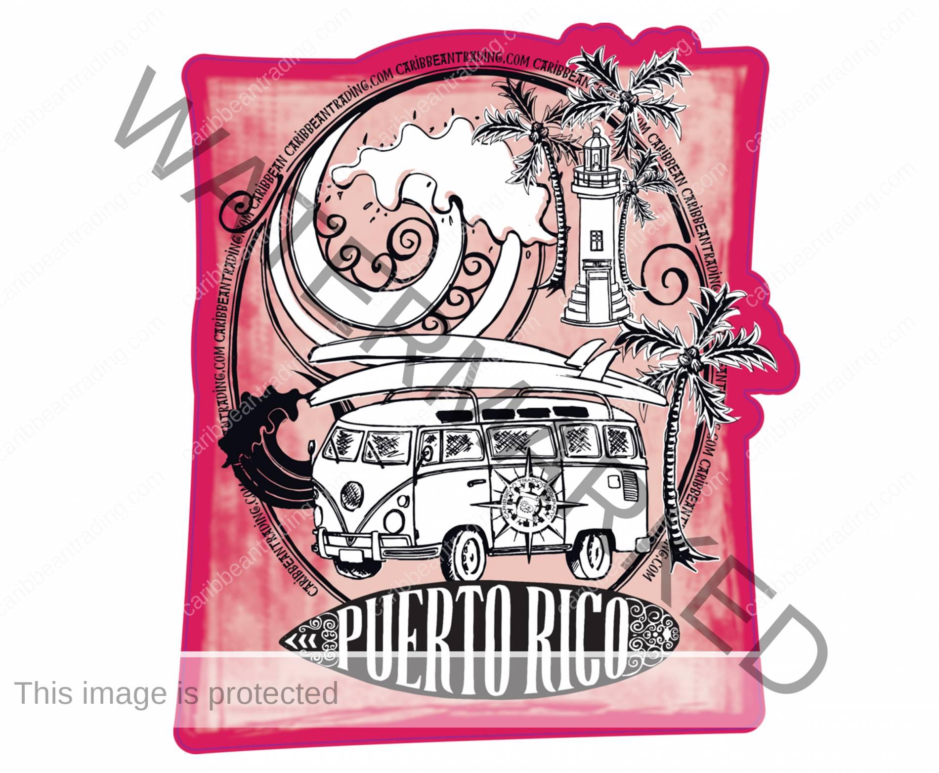 Puerto Rico Surf Volkswagen Sticker w/ FREE SHIPPING!