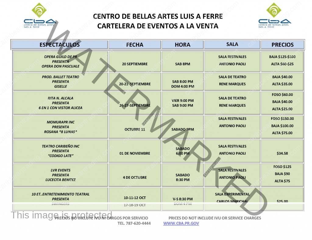 bellas arte schedule